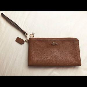 Coach brown wristlet wallet